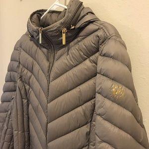 Michael Kors Chevron Hooded Packable Down Jacket